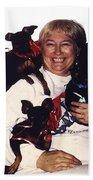 Sylver Short With Her Miniature Pinschers Christmas 2002-2008 Beach Towel