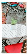 Tables And Chairs Beach Towel by Tom Gowanlock