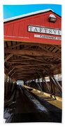 Taftsville Covered Bridge In Vermont In Winter Beach Towel by Edward Fielding
