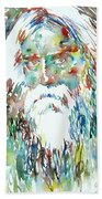 Tagore Watercolor Portrait Beach Towel