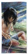 Tahitian Boy With Knife Beach Towel