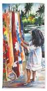 Tahitian Girl With Pareos Beach Towel