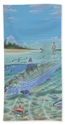 Tailing Bonefish In003 Beach Towel by Carey Chen