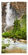 Takakkaw Falls Waterfall In Yoho National Park Canada Beach Towel