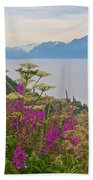 Tall Fireweed And Cow Parsnip Over Cook Inlet Near Homer- Ak Beach Towel