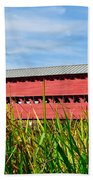 Tall Grass And Sachs Covered Bridge Beach Towel