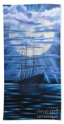 Tall Ship By Moonlight Beach Towel