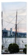 Tall Ship Gazela At Penns Landing Beach Towel by Bill Cannon