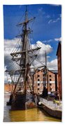 Tall Ship In Gloucester Docks Beach Towel