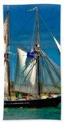 Tall Ship Vignette Beach Towel by Steve Harrington