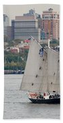Tall Ships In The Harbor Beach Towel