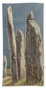 Tall Stones Of Callanish Isle Of Lewis Beach Towel