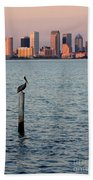 Tampa Skyline And Pelican Beach Towel