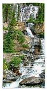 Tangle Falls Along Icefield Parkway In Alberta Beach Towel
