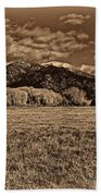 Taos Mountain In Platinum  Beach Towel