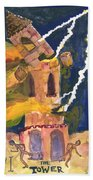 Tarot 16 The Tower Beach Towel