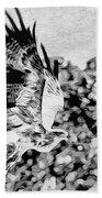 Tawny Eagle Flighing Away Beach Towel by Perla Copernik