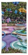 Tea Cup Ride Fantasyland Disneyland Beach Towel by Thomas Woolworth