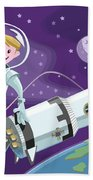 Tea Time Space Walk Beach Towel