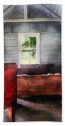 Teacher - One Room Schoolhouse With Hurricane Lamp Beach Towel by Susan Savad