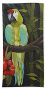 Teal Chartreuse Parrot Beach Towel