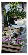 Teapots And Flowers Beach Towel