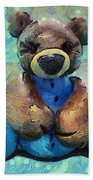 Teddy Bear In Blue Beach Towel