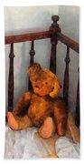 Teddy Bear In Crib Beach Towel