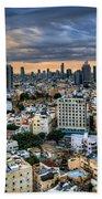 Tel Aviv Skyline Winter Time Beach Sheet