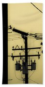 Telephone Pole And Sneakers 5 Beach Towel by Scott Campbell