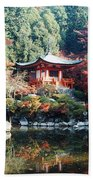 Temple Behind A Pond, Daigo-ji Temple Beach Towel