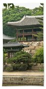 Temple By Lake And Forest Seoul South Korea Beach Towel