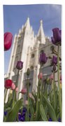 Temple Tulips Beach Towel by Chad Dutson