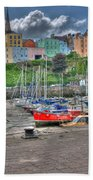 Tenby Harbour In Summer 4 Beach Sheet