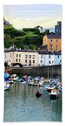 Tenby Harbour Panorama Beach Towel