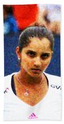 Tennis Player Sania Mirza Beach Towel by Nishanth Gopinathan