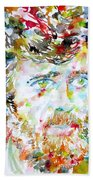 Terence Mckenna - Watercolor Portrait.3 Beach Towel