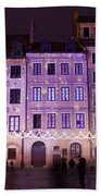 Terraced Historic Houses At Night In Warsaw Beach Towel