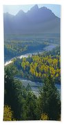 2m9301-teton Range From Snake River Overlook Beach Towel