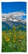 Tetons Peaks And Flowers Right Panel Beach Towel