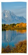 Tetons With Moose Beach Towel
