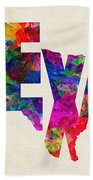 Texas Typographic Watercolor Flag Beach Towel