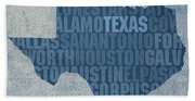 Texas Word Art State Map On Canvas Beach Towel