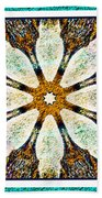 Textured Flower Kaleidoscope Triptych Beach Towel