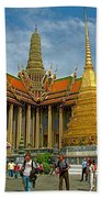 Thai-khmer Pagoda And Golden Chedis At Grand Palace Of Thailand  Beach Towel