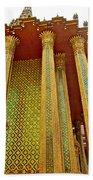 Thai-kmer Pagoda Columns At Grand Palace Of Thailand In Bangkok Beach Towel