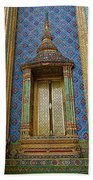 Thai-kmer Pagoda Window At Grand Palace Of Thailand In Bangkok Beach Towel