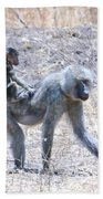 Thanks For The Ride Olive Baboon Beach Towel