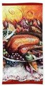 Thanksgiving Autumnal Collage Beach Towel