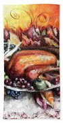 Thanksgiving Dinner Beach Towel by Shana Rowe Jackson